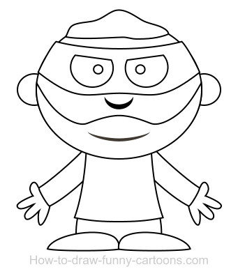 Drawing a robber cartoon