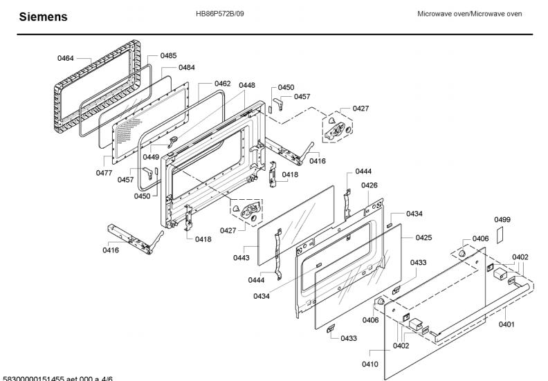 Siemens Combination Oven Spare Parts