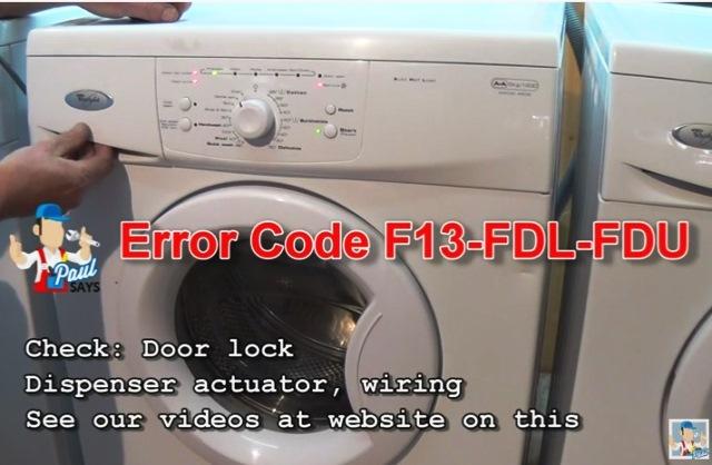 Whirlpool AWOD  AWD Series Washing Machine Error Fault Codes