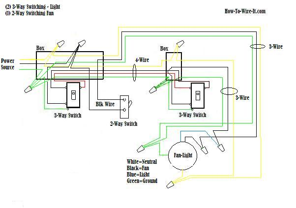 3 way switch ceiling fan to capacitor wiring diagram
