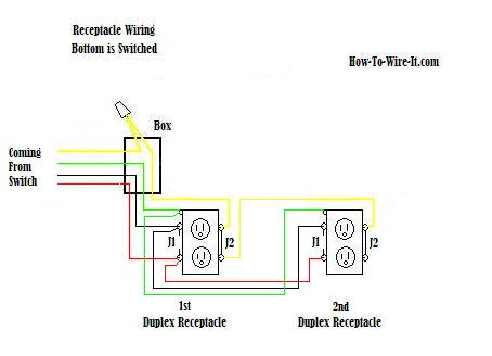 double outlet wiring diagram 1981 corvette 120v plug diagrams schematic wire an a 3 prong switched receptacle in series