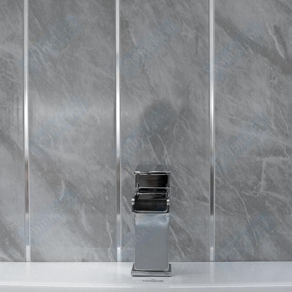 Grey Marble & Chrome Bathroom Panels Kitchen Ceiling