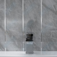 Grey Marble & Chrome Bathroom Panels Kitchen Ceiling