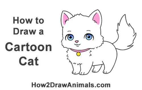Draw cartoon cat for How to draw a cartoon kitten