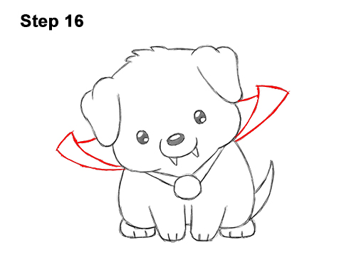 How to Draw a Puppy in a Vampire Costume for Halloween