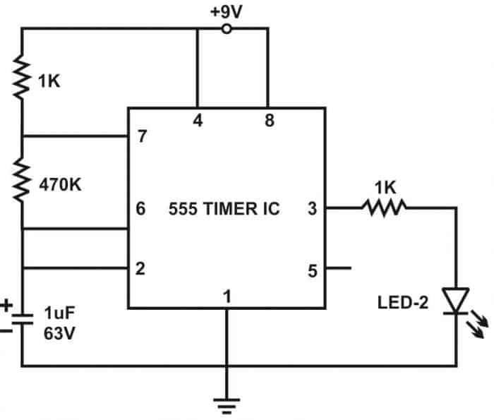Automatic LED Blinking Circuit using 555 Timer IC – LED Flasher on