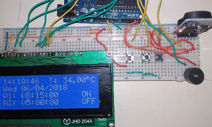 Arduino DS3231 Based Real Time Clock with Alarm & Temperature