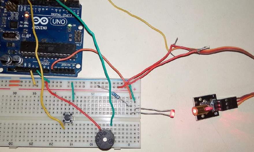 Laser Light Security System Using Arduino wih Alarm