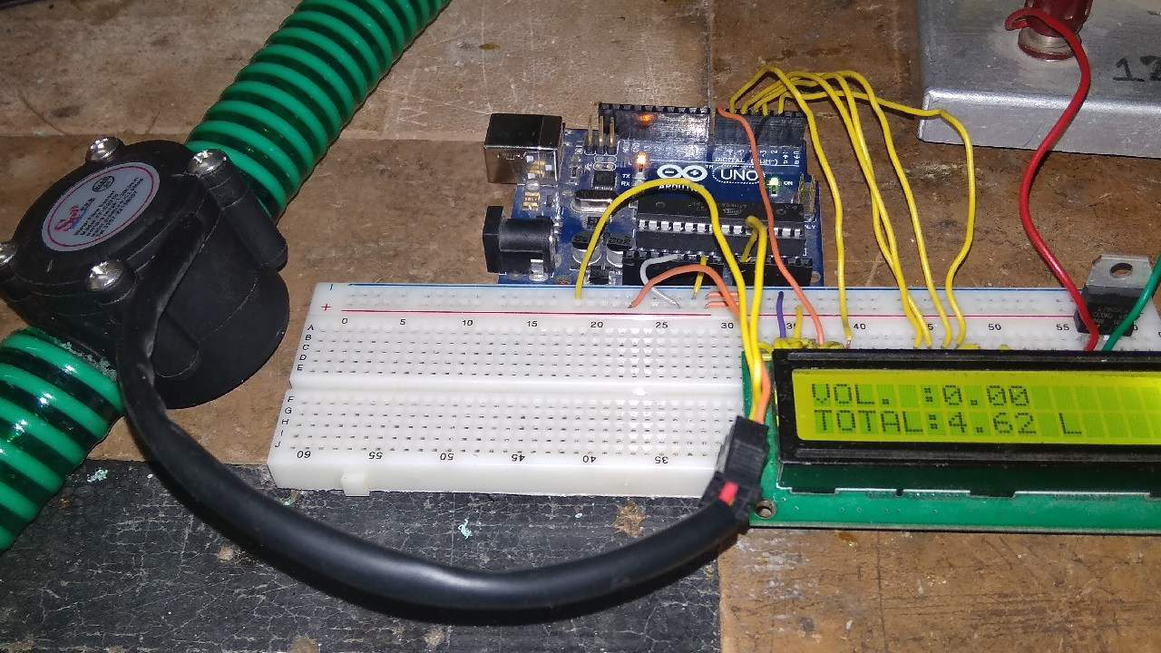 Water Flow Sensor For Rate Volume Measurement Using Arduino Load Cell Circuit