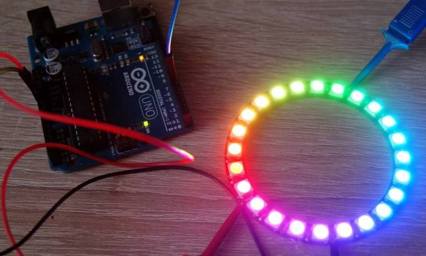 Interfacing NeoPixel LED Strip WS2812B with Arduino for