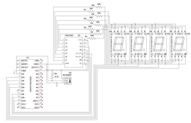 DS18B20 Thermometer using Arduino & 4 Digits 7 Segment Display