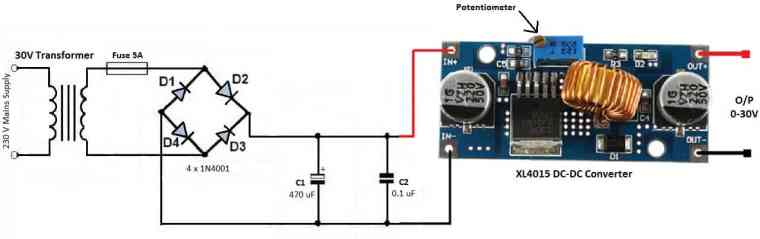 Circuit for 0-35V Variable Power Supply Using XL4015 DC-DC Converter