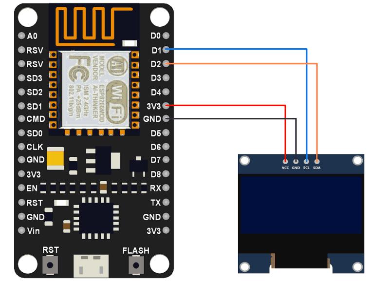 Analog Digital OLED IOT Clock Circuit Diagram
