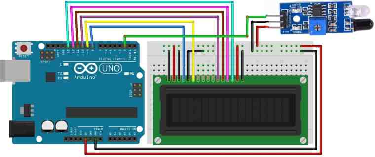 Circuit Diagram Fan Speed Measurement using IR Sensor & Arduino