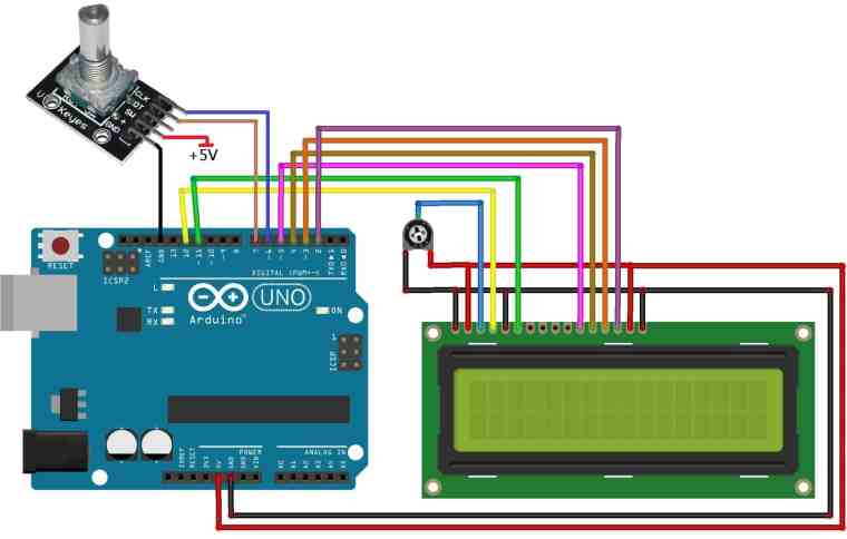 Circuit Diagram Rotary Encoder with Arduino