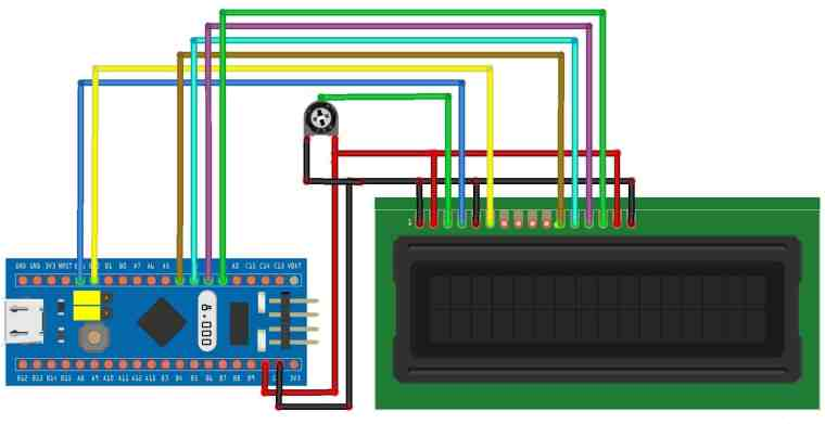 Circuit Diagram Connection 16X2 LCD and STM32