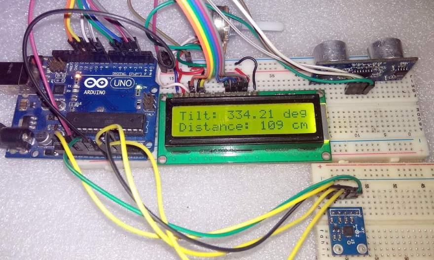 Tilt Angle & Distance Meter Using Accelerometer & Ultrasonic