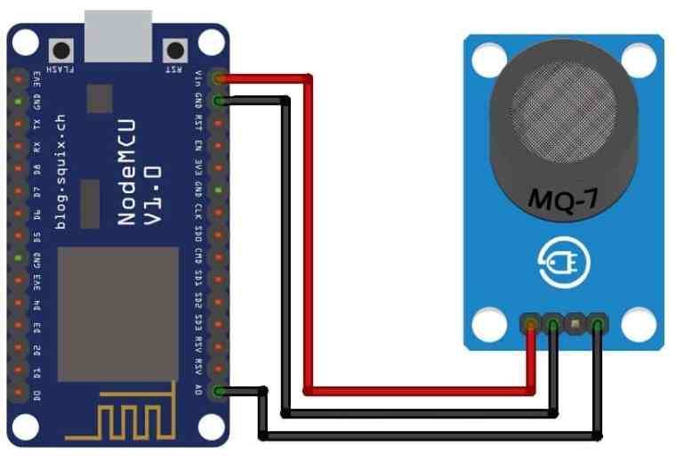 Circuit Diagram Gas Level Monitoring ESP8266