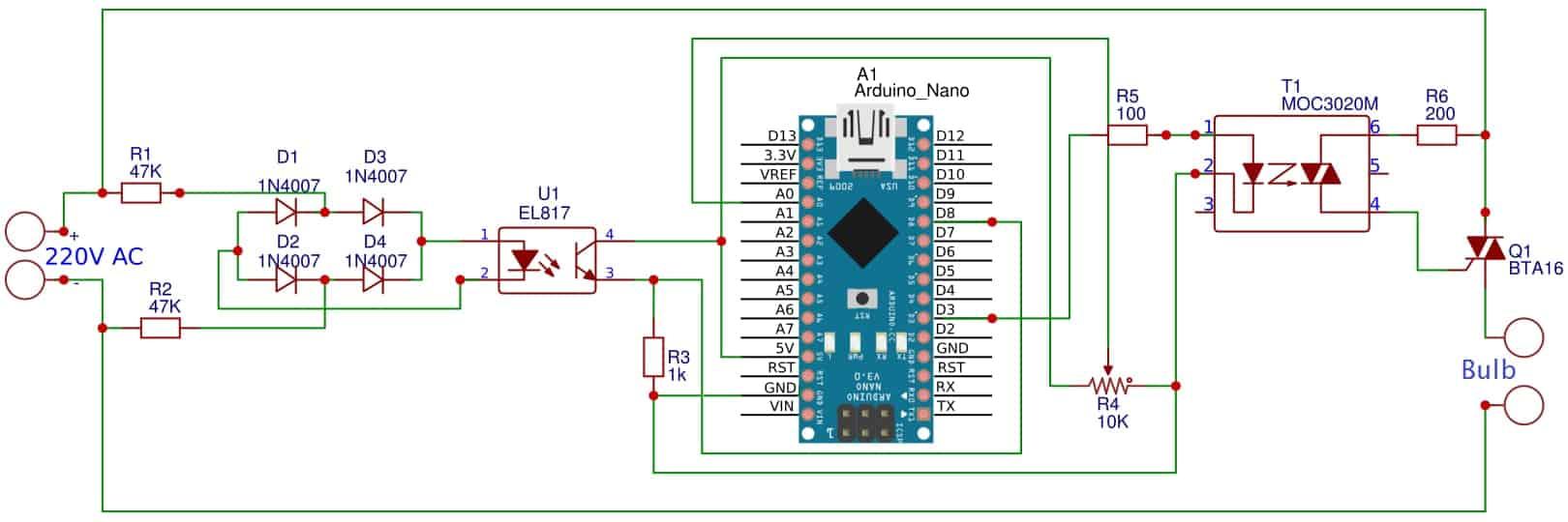 220V AC Light/Fan Dimmer using TRIAC & Arduino