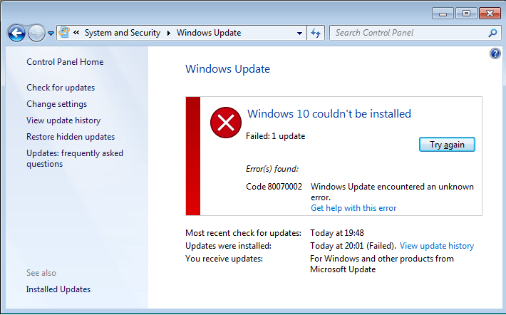 windows 7 update troubleshooter fails