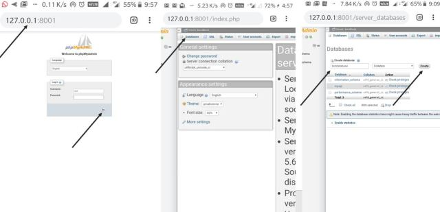 Create database on PHPmyadmin android