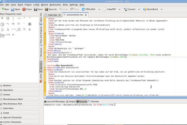 Kile Latex editor Linux and Windows