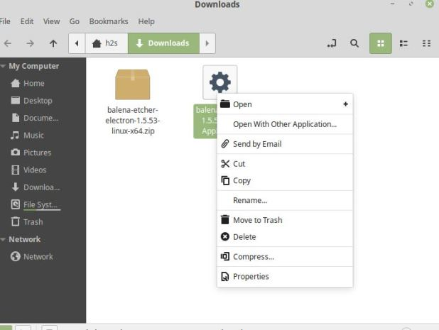 install etcher app image on Linux