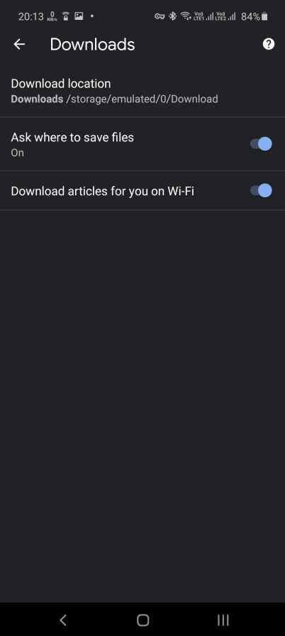 Download location Android Google chrome