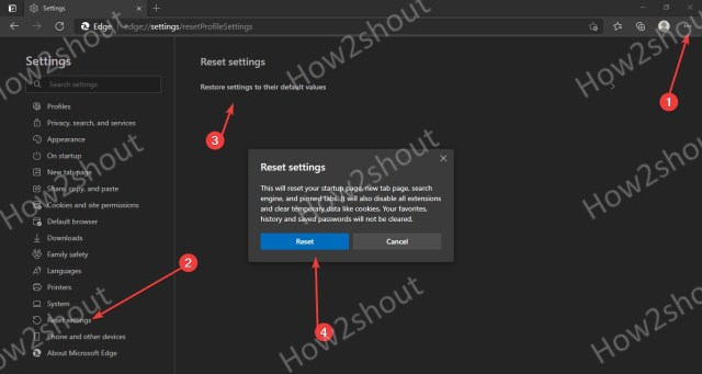How to reset Microsoft Edge browser completely to start from scratch