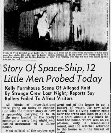 Газетная вырезка о встрече с НЛО в Хопкинсвилле.