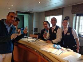 Reception staff happy with their Sim Cards and other 'gifts' from Aberdeen Seafarers Centre!