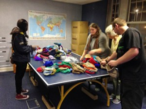 Stuffing the Wolly Hats!
