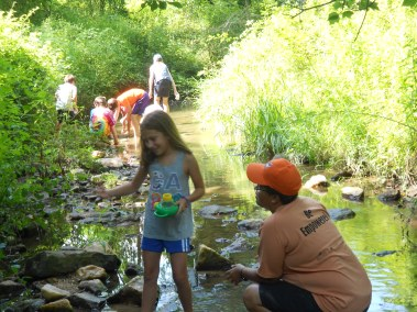 Howard County Conservancy campers find animals and learn about stream health at the Davis Branch stream during Summer Nature Day Camps at Mt. Pleasant