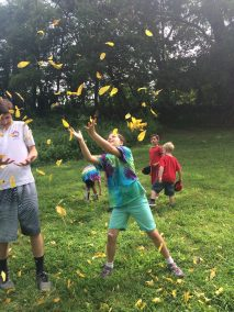 Howard County Conservancy Campers enjoy falling leaves at Mt. Pleasant during Summer Nature Day Camp