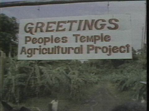 The welcome sign at Jonestown