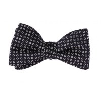 Navy and white circles silk bow tie - Howard's