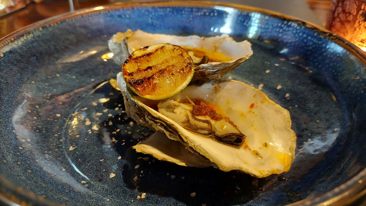 Amazing Ayrshire oyster with harissa butter and lime, at the Clachan Inn