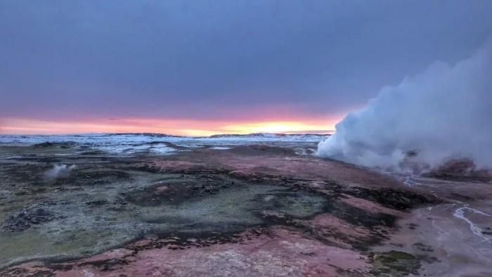 Gunnuhver Reykjanes in the winter sunrise