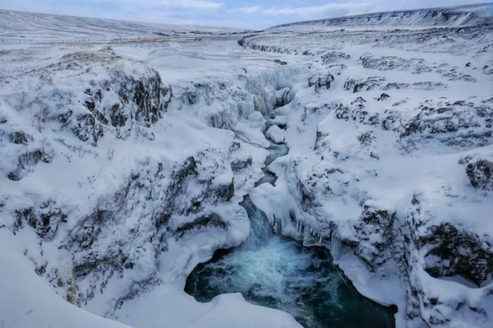 Kolugjúfur Canyon in the winter north iceland