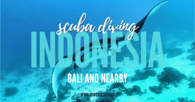 """Text """"scuba diving indonesia bali and nearby"""" overlayed on image of manta ray"""