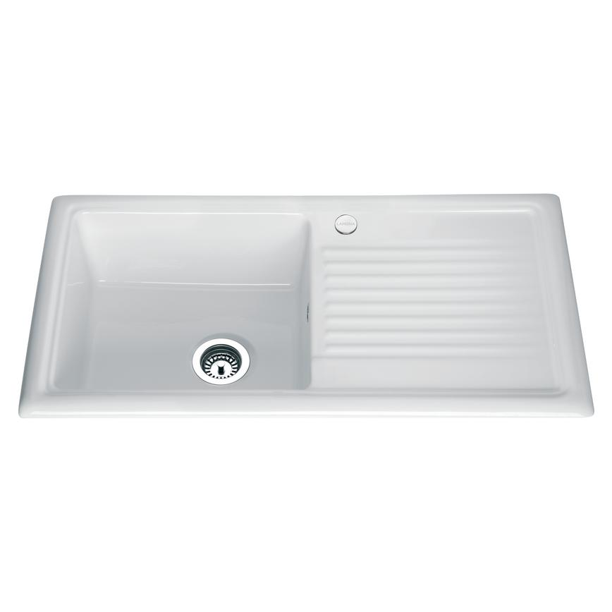 kitchen sink white aqua utensils sinks ceramic stainless steel howdens 3972 cmyk rt1 no tap