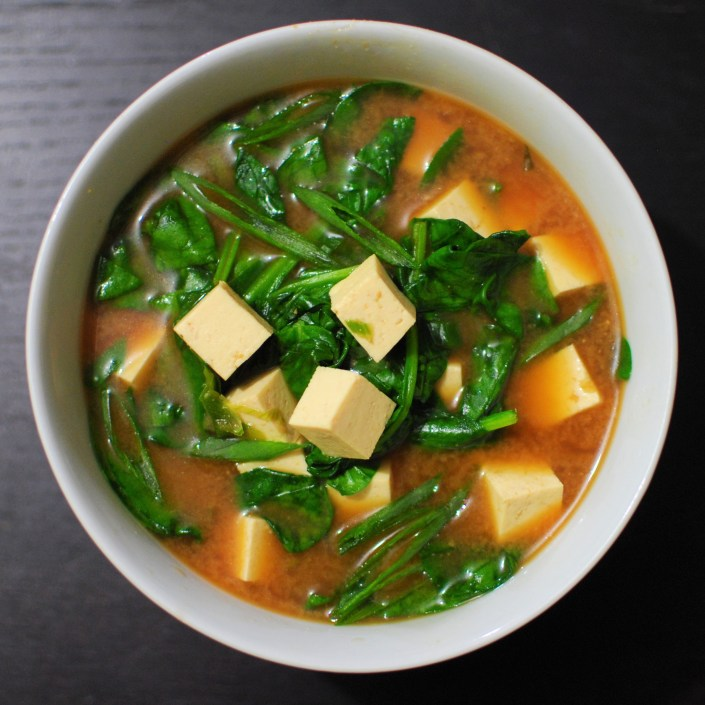 Red miso soup with spinach and tofu