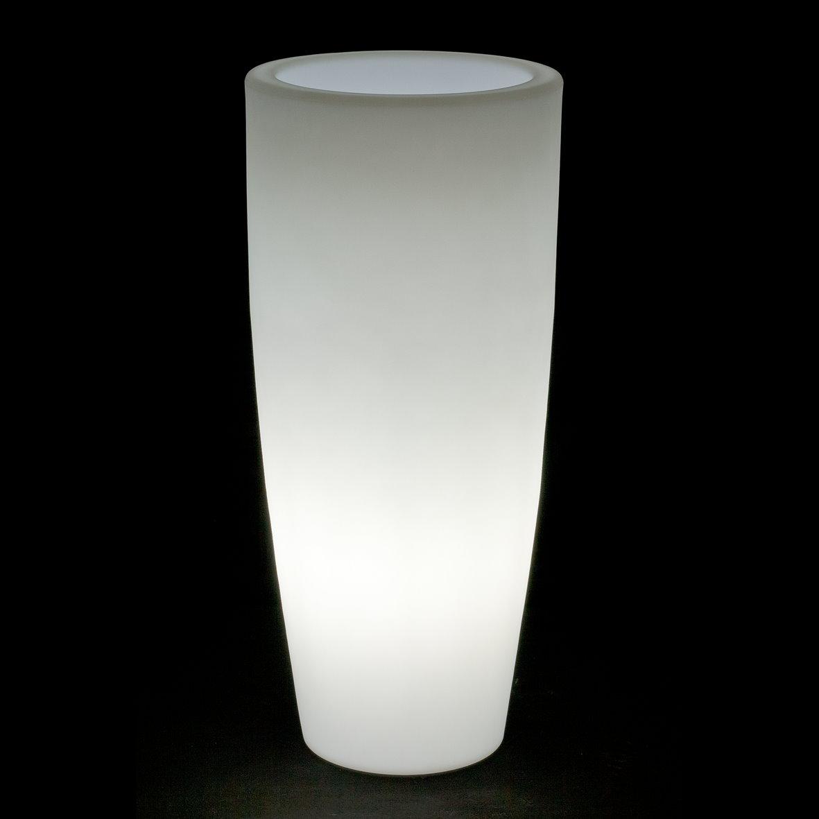 LED Leuchtopf Blumentopf beleuchtet Bambu Light  40 cm Hhe 895 cm wei mit Akku und