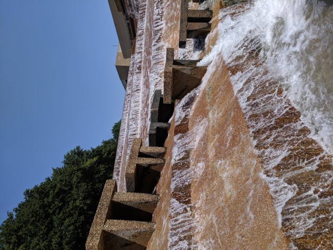 The stairs leading through the water