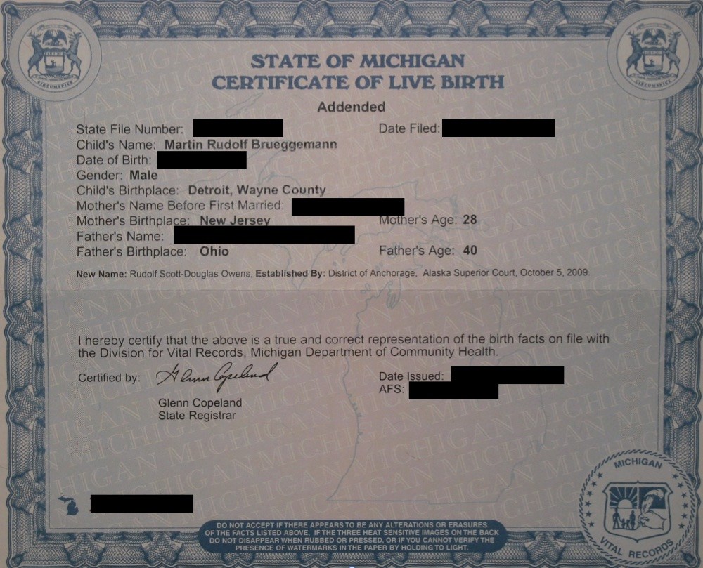 legal name change birth certificate