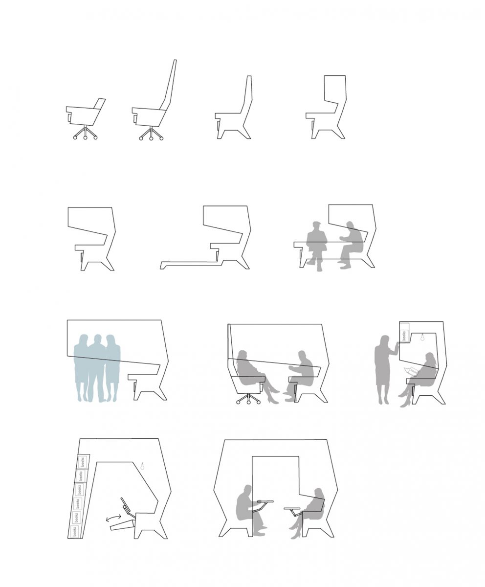 Illustration showing development of the Ear Chair