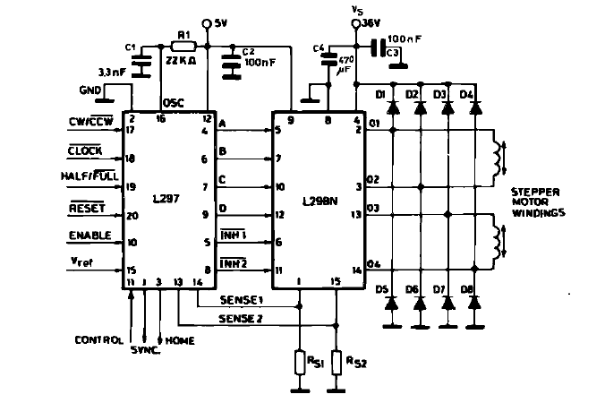 L297 L298 Stepper Motor Driver Schematic