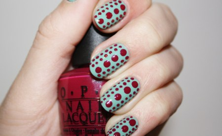 Polka Nail Art Blue & Red