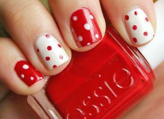 Polka Nail Art Red & White