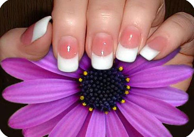 White nails on purple flower
